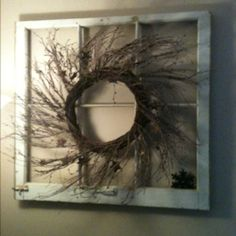 Super easy wall accent! All you need is an old window frame and put a nail in it for your wreath! :) Another idea instead of the wreath is put pictures in the squares with or without the glass :)