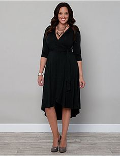 Exude confidence in this fully functional wrap dress with a stylish hi-lo skirt. The hem of the beautifully draped skirt hits at or below your knees in front, while the back hem hits low to mid-calf. A longer sash is able to wrap fully around your body to emphasize your waist, making the smallest part of your body a flattering focal point. A cute gathered detail at the shoulders and ultra-soft jersey material top off this stunning piece. sonsi.com