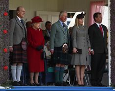 zimbio:  Queen Elizabeth and the Duke of Edinburgh accompanied by their son the Prince of Wales and granddaughter-in-law and grandson Autumn and Peter Philips, attended the 2015 Braemar Highland Gathering, September 5, 2015