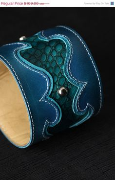 awesome blue leather cuff