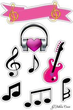 Music in Pink Free Printable Quinceanera Cake Toppers. Music Note Cake, Music Notes, Party Printables, Free Printables, Bolo Musical, Bts Cake, Rock Star Party, Rock Star Theme, Quinceanera Cakes
