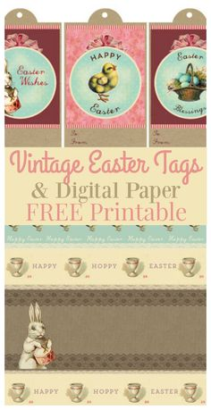 Printable Vintage Easter Gift Tags & Digital Paper - The Graphics Fairy