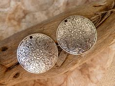 2x Large disk style round pendant for jewelry making, would make a pretty statement piece.    One sided. 28 mm