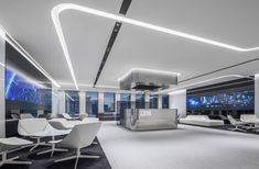 A rift in the clouds to which organic communication migrates Clean Design, Modern Design, Reception Desk Design, Showroom Interior Design, Ceiling Plan, Experience Center, Ibm, Osaka, Modern Classic