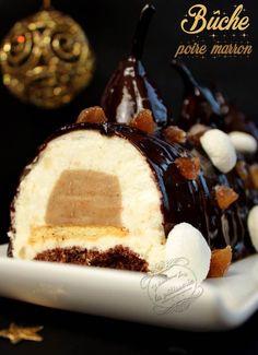 Bûche de Noël poire, marron et chocolat #dessert Mousse, Winter Christmas, Amazing Cakes, Desserts, Html, Food, Candy Bars, Cooking Food, Food Ideas