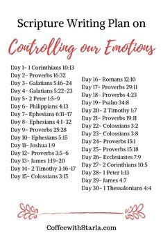 Bible Study Plans, Bible Plan, Bible Study Tips, Prayer Scriptures, Bible Prayers, Bible Verses Quotes, Scripture Reading, Scripture Study, Controlling Emotions
