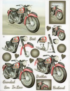 Die Cut Decoupage BSA Twin Super Rocket 594 for sale online Decoupage Printables, 3d Sheets, Paper Napkins For Decoupage, 3d Paper Crafts, 3d Cards, Crafts To Make And Sell, 3d Prints, Digital Stamps, Die Cutting