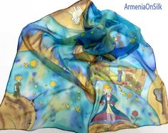 Hand painted silk scarf  Little Prince.  Book by ArmeniaOnSilk