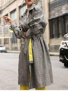 コート - ファッション気質アップチェック柄ベルト付きウエストデザインスーツの襟ダブルブレストトレンチコート