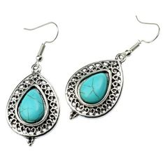 Amazon.com: StarrY Pear Shape Turquoise Lace Alloy Earrings: Jewelry