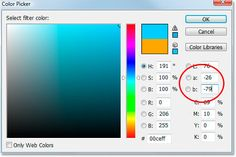 Neutralizing Color Casts With The Photo Filter In Photoshop - Inverting the orange color using the Lab color options in the Color Picker.