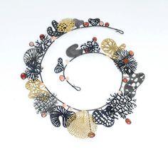 Suzan Rezac, Artist, Necklace, oxidized silver, 18K gold, 24K gold leaf, coral #ArtonTap #artjewelry