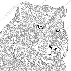 Adult Coloring Page. Tiger. Zentangle Doodle Coloring Book Page for Adults. Digital illustration. Instant Download Print.