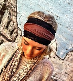 Stretch Jersey Lace Headband  BROWN with Black by ThreeBirdNest, $24.00