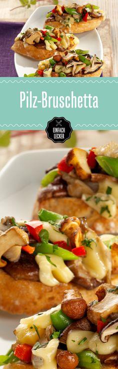 Hey Schnitte! Du siehst super aus - so belegt mit Pilzen, Paprika, Pecorino & Co. Bruschetta, Veggie Delight, Kitchen Time, Party Snacks, Finger Foods, Grilling, Sandwiches, Vegan Recipes, Toast