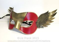 Winged Super Hero Masquerade Mask, Handmade from Leather, Great for theater, costume, rave, larp and more! Cosplay, leather mask