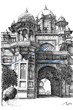 Aitchison College, Lahore. Pen and ink sketch on pastel sheet, drawn with a 0.1mm rapido.   By: Zehra Naqavi (Architect/artist)  Year: 1997