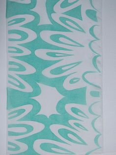 Mint Green White Hand Painted Silk Scarf.