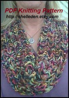 PDF Knitting Pattern for Sangria Scarf Cowl PATTERN by Shelleden, $3.00