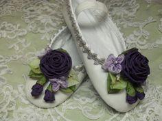 Fairy Princess Ballerina Shoes Roses Ribbon ♥ by lambsandivydesigns