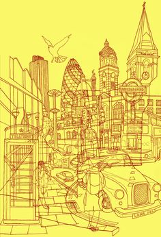 London! Yellow/Red by David Bushell - I have this as a black ink on brown t-shirt from Threadless