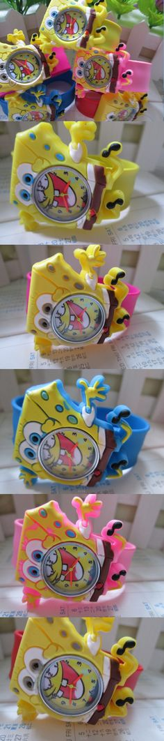 Rubber silicone jelly chirdren Cartoon watches Lovely Spongebob kids watches 30pcs/lot, slap on watch freeshipping