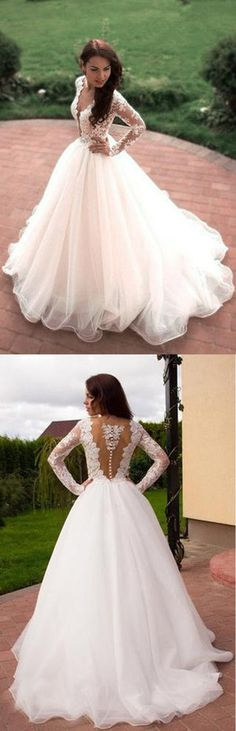 Princess A-Line V-Neck Tulle Ivory Long Sleeves Wedding Dresses WD181 #wedding #dress #tulle #gowns #pgmdress #weddingdress