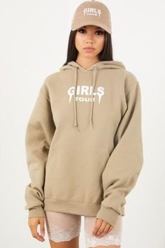 Shop our classic and comfy OG Girls Tour Hoodie in tan at Sorella Boutique. Shop all women's affordable hoodies, jackets, and sweaters now with off! Dope Sweaters, Stylish Hoodies, Casual Outfits, Cute Outfits, Colorful Hoodies, Sweater Hoodie, Aesthetic Clothes, Girl Fashion, How To Wear