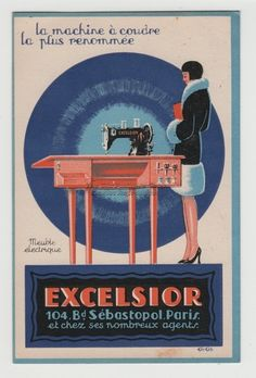 Deco ad for Elcelsior sewing machines