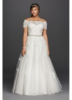 Jewel Scalloped Sleeve Plus Size Wedding Dress 4XL9WG3728
