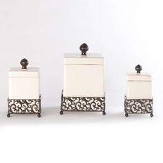 Pressed Metal Ceramic Jar, Set of 3   Kirklands
