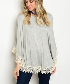 Gray & Cream Lace Trim Tunic #zulily #zulilyfinds