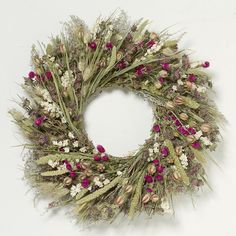 The prettiest of spring garden wreaths! You are in the right place about spring garden drawing Here Christmas Mesh Wreaths, Easter Wreaths, Holiday Wreaths, Dried Flower Wreaths, Dried Flowers, Floral Wreaths, Globe Amaranth, Diy Spring Wreath, Spring Sign