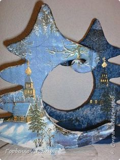 Мастер-класс Новый год Рождество Декупаж Моделирование конструирование Папье-маше Ёлка-подвеска для новогоднего шара Картон Краска Салфетки фото 27
