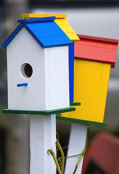 Bird Houses, simple and sweet for little ones to paint
