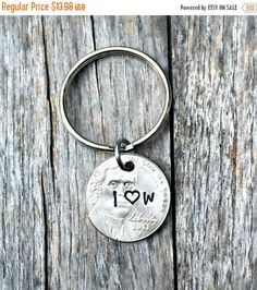 Husband Gifts, 5th Anniversary, Gifts For Men, Coin Jewelry, 5 Years, Personalized, Hand Stamped, Couples Key Chains, Nickel , I still do