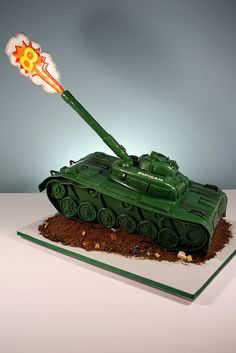 Army Tank Cake by marksl110, via Flickr...wish I could have had one of these for my dad, a WWII Veteran