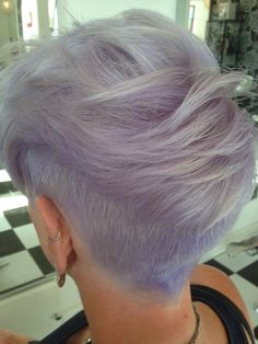 Ladies undercut with heavily textured top. Silver lilac colour. By Adele Clarke @ Spectrum Salons, St Helens x