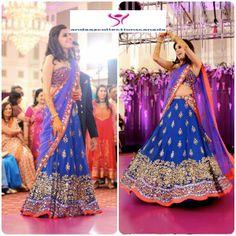 Pretty Arpita Mehta Blue Sangeet Lehenga buy it now at andaazcollectionscanada
