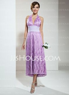 Bridesmaid Dresses - $108.99 - A-Line/Princess Halter Asymmetrical Chiffon Lace Bridesmaid Dress With Ruffle Beading (007001135) http://jjshouse.com/A-Line-Princess-Halter-Asymmetrical-Chiffon-Lace-Bridesmaid-Dress-With-Ruffle-Beading-007001135-g1135