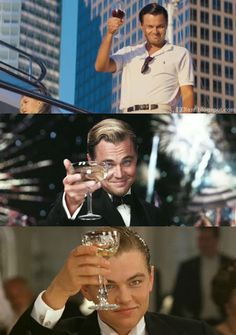 "Leo Dicaprio toasts in movies ""the Wolf of Wall Street"", ""the Great Gatsby"", & ""Titanic"""