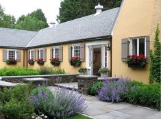 beautiful pale yellow french country home exterior with window boxes, slate pavers and lavender.