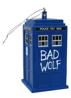 Add some Bad Wolf to your TARDIS with this Doctor Who Bad Wolf TARDIS Holiday Ornament with Sound - Celebrate the season with Doctor Who. This 4 1/2-inch tall x 2-inch wide ornament features the words
