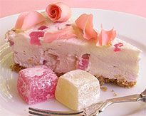Delicious twist on a traditional cheesecake recipe, by adding turkish delight and rosewater for some exotic flavours.