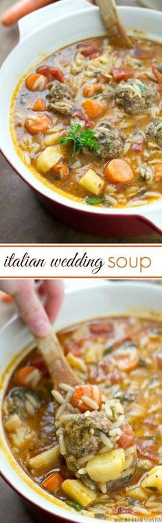 Italian Wedding Soup This hearty, Italian-style stew is chock-full of tender veggies, lots of orzo pasta, and the most tender meatballs ever in a rich, flavorful broth. Soup Recipes, Dinner Recipes, Cooking Recipes, Healthy Recipes, Fall Recipes, Crockpot Recipes, Weight Watchers Kuchen, Orzo, Wedding Soup