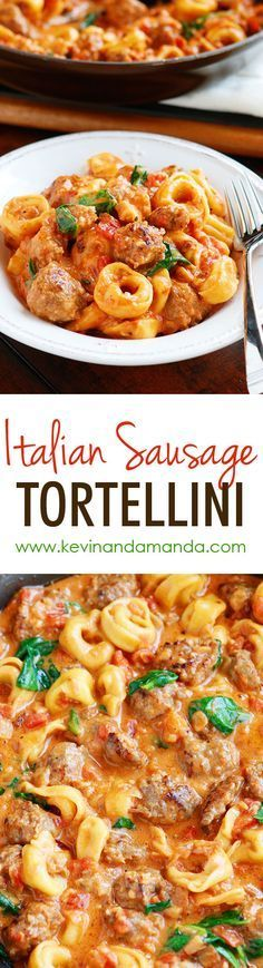 This Italian Sausage Tortellini is a MUST make!! The tomato sauce is so rich and creamy and the Italian sausage is fabulous!! Plus it all cooks in one pot so you only have one dish to wash!! Love it!! #frozenchickenrecipeshealthy
