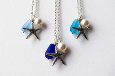 Wedding Jewelry Starfish Necklaces Bridesmaid Jewelry in Blue Beach Cobalt, Turquoise and Cornflower Blue, Blue Ombre. $22.00, via Etsy.