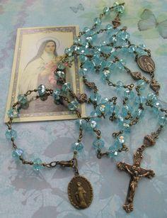 Chapelet bleu céleste et son dizainier  rosary rosaries