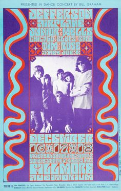 """psychedelic-sixties: """" Jefferson Airplane, Junior Wells Chicago Blues Band & Tim Rose, December 1966 - Fillmore Auditorium (San Francisco, CA.) Art by Wes Wilson """" Rock Posters, Band Posters, Music Posters, City Lights Bookstore, Wes Wilson, Psychedelic Bands, Psychedelic Posters, Fillmore Auditorium, Jefferson Airplane"""