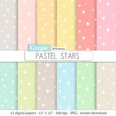 Stars digital paper PASTEL STARS digital paper pack with by Grepic